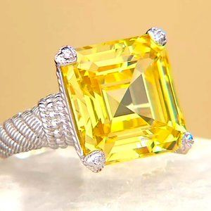 Judith Ripka 34ct. Square Emerald Cut Canary Ring
